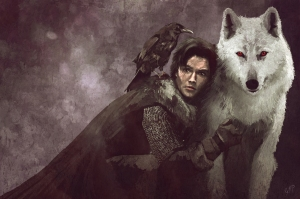 Jon Snow and Ghost. Nice Facial Scars, Snow.